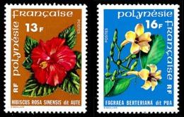 POLYNESIE 1978 - Yv. 119 Et 120 ** TB  Cote= 6,50 EUR - Fleurs : Hibiscus Et Fagrae (2 Val.)  ..Réf.POL23855 - Unused Stamps