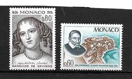"MONACO  1976   Lot 2 Timbres  N° 1067/68     "" Divers ""   NEUFS - Neufs"