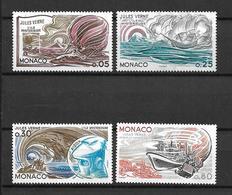 """MONACO  1978   Lot 4 Timbres  N° 1125  à 1128   """" 150ème Anniv. Naissance De J.VERNE """"   NEUFS - Unused Stamps"""