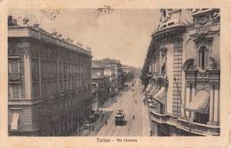 "1010 ""TORINO - VIA CERNAIA""  ANIMATA, TRANWAY. CART   SPED 1924 - Italie"