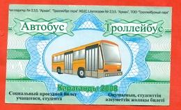 Kazakhstan 2008. City Karaganda. June July August - Social A Trees Monthly Bus Pass For Student. Nominal. - Season Ticket