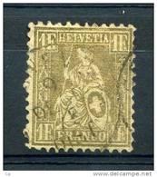 Suisse  :  Yv  41  (o)  Papier Blanc)         ,   N11 - 1862-1881 Helvetia Seduta (dentellati)