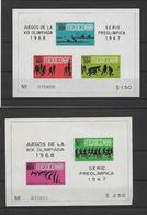 MEXIQUE. 1967 / 1968. SERIE PREOLYMPIQUE. 9 BLOCS NUMEROTER. - Messico