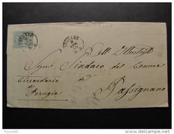 """3451 ITALIA Regno-1863- """"Effigie V. E. II"""" C. 15 SALUZZO>PASSIGNANO (descrizione) - 1861-78 Vittorio Emanuele II"""