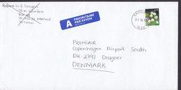 Norway A-Prioritaire Par Avion Label Deluxe SKOGN 1998 Cover Brief DRAGOER Denmark Flower Blume - Norwegen