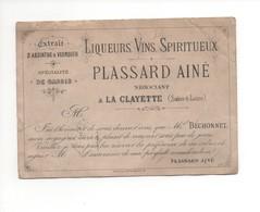 P115 Carte Visite Avis De Passage PLASSARD Ainé Liqueur Vin Spiritueux Absinthe Vermouth Cassis Négociant à La Clayette - France