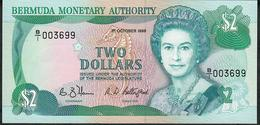 BERMUDA  LOW NUMBER P34a 2 DOLLARS 1988 # B/1 003699    UNC. - Bermudas