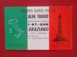 POSTAL TYPE POST CARD QSL RADIOAFICIONADOS RADIO AMATEUR GRUPPO ALFA TANGO ITALIA ITALY GENOVA GENOA FLAG VER FOTOS Y DE - Tarjetas QSL