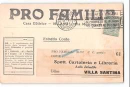 17166 PRO FAMILIA CASA EDITRICE MILANO X VILLA SANTINA - TARIFFA ESTRATTO CONTO EDITORI - 1900-44 Victor Emmanuel III