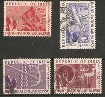 INDIA 1950 INAUGURATION OF REPUBLIC SET SG 329/332 FINE USED Cat £16 - 1950-59 Republic