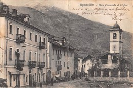 """1035  """"(AO) AYMAVILLES - PLACE COMUNALE ET L'EGLISE"""" ANIMATA.  CART  SPED 1920 - Italy"""