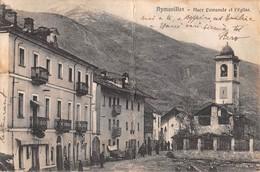 "1035  ""(AO) AYMAVILLES - PLACE COMUNALE ET L'EGLISE"" ANIMATA.  CART  SPED 1920 - Italie"