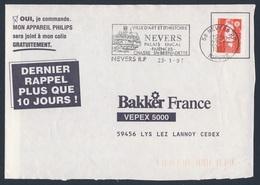 France Rep. Française 1997 Bande D'adresse / Adressstreifen- Nevers: Ville D'art Et D'histoire, Palais Ducal, Faiences - Vakantie & Toerisme