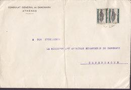 Greece CONSULAT GÉNÉRAL DE DANEMARK, ATHÉNES 1922 Cover Brief Denmark (2 Scans) - Griechenland