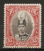 MALAYA - KEDAH 1937 $5 SG 68 FINE USED TOP VALUE OF THE SET Cat £180 - Kedah