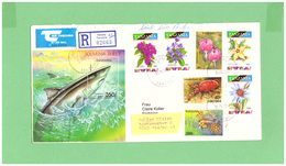1996 TANZANIA AIR MAIL REGISTERED COUVERT WITH 1 BLOC + 7 FLORA + FAUNA STAMPS TO SWISS - Tanzania (1964-...)