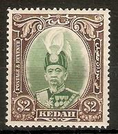 MALAYA - KEDAH 1937 $2 SG 67 VERY LIGHTLY MOUNTED MINT Cat £130 - Kedah