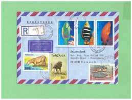 1996 TANZANIA AIR MAIL REGISTERED COUVERT WITH 6 STAMPS TO SWISS - Tanzania (1964-...)