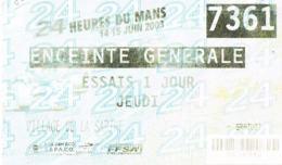 Billet D'entrée 24 Heures Du Mans 2003  Essai 1 Jour - Scans Recto Verso - -Paypal Free - Automobile - F1
