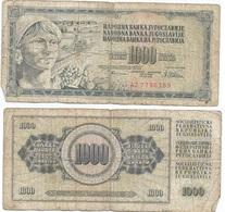 Yugoslavia 1,000 Dinara 12-8-1978 Pk 92 C Firma 10 Ref 1358 - Yugoslavia