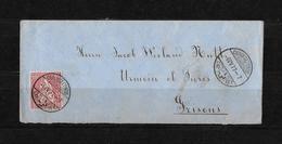 1862-1881 Sitzende Helvetia (gezähnt) → Umschlag Chaux-de-Fonds Nach Urmein Ob Thusis 1877 - 1862-1881 Sitted Helvetia (perforates)