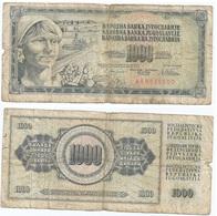 Yugoslavia 1,000 Dinara 12-8-1978 Pk 92 C Firma 10 Ref 1360 - Yugoslavia
