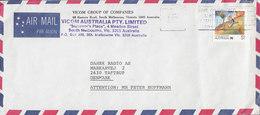 Australia AIR MAIL Par Avion VICOM GROUP , MELBOURNE VIC. 1988? Cover Brief TAASTRUP Denmark 1$ Living Together - 1980-89 Elizabeth II