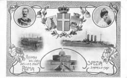 """1053  """"SPEZIA - RICORDO DEL VARO DELLA R. NAVE ROMA - ARTIGLIERIA - 1907"""" ANIMATA, REALI.  CART  NON SPED - Inaugurazioni"""