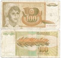 Yugoslavia 100 Dinara 1-3-1990 Pk 105 Firma 14 Ref 1377 - Yugoslavia