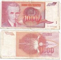 Yugoslavia 1,000 Dinara 1992 Pk 114 Firma 15 Ref 1386 - Yugoslavia