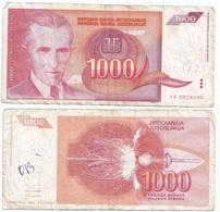 Yugoslavia 1,000 Dinara 1992 Pk 114 Firma 15 Ref 1387 - Yugoslavia