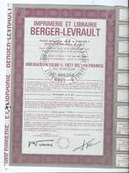 Action Imprimerie Librairie Berger Levrault - Actions & Titres