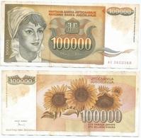 Yugoslavia 100,000 Dinara 1993 Pk 118 Firma 16 Ref 1390 - Yugoslavia