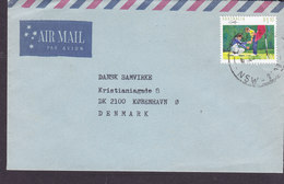Australia Air Mail Par Avion 'Petite' LAMBTON 198? Cover Brief KØBENHAVN Ø. Denmark 1.10$ Golf Stamp - 1980-89 Elizabeth II