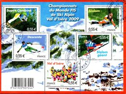 France Oblitération Cachet à Date BF N° F 4329 - Championnat Du Monde De Ski Alpin à Val D'Isère - Blocks & Kleinbögen