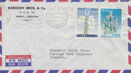 Lebanon Liban Airmail Par Avion BAROODY BROS. & Co., BEYROUTH 1964 Cover Lettre STANWELL PIPES Denmark 2 Flower Stamps - Libanon
