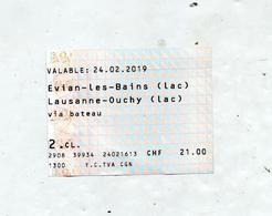Billet Bateau Evian Lausanne - Inschepingsbiljetten
