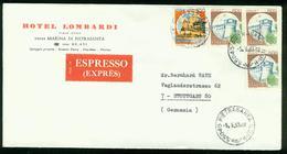 BR Italien   1983 Express Brief Von Pietrasanta Nach Deutschland, Stuttgart (Hotel Lombardi, Marina Di Pietrasanta) - 1981-90: Storia Postale