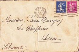 Semeuse Camée 10ct Bleue Paix 40ct Violet Paris 1933 Lessac Charente - 1906-38 Sower - Cameo
