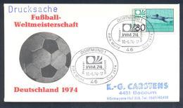 Germany 1974 Cover: Football Fussball Soccer Calcio: FIFA World Cup; Bonn Press Cancellation - Fußball-Weltmeisterschaft