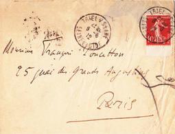 Semeuse Camée 10ct Rouge Bord De Feuille 1912 Treil Sur Seine - 1906-38 Semeuse Camée