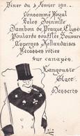 """MENU 9X14 Cm .Diner Du 04Février 1911 ( Ecrit Et Illustré Main Signé """"ZL"""" ) + Au Dos """" Mr Léon COUTANT - Menus"""