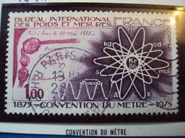 """1970-79-timbre Oblitéré N°  1844   """"  Convention Du Mètre     """"     0.40 - France"""