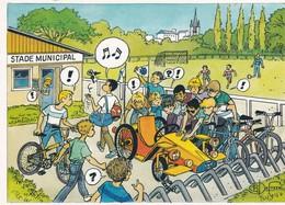 SCOUTISME . CPM 2 Volets 10X15  Groupe De Scouts Avec Vélos Et Vieille Auto Près Stade Municipal I. Llust. B. DUFOSSE - Scoutisme