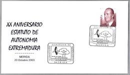 Estatuto De Autonomia De Extremadura. CIGUEÑA BLANCA - WHITE STORK -  Ciconia Ciconia. Merida, Badajoz, Extremadura 2003 - Obliteraciones & Sellados Mecánicos (Publicitarios)