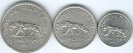 India - George VI - 1947 - ¼ (KM548), ½ (KM553) & 1 Rupee - Security Edge (KM559) - Indien