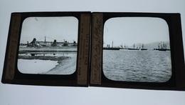 CANAL DE SUEZ EGYPTE CIRCA 1865 2 PLAQUES DE VERRE 8,5 X 10 Cm Env. / FREE SHIP. R - Glasdias