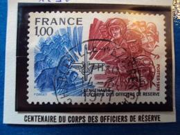 """1970-79-timbre Oblitéré N° 1890    """"  100 Ans Corps Des Officiers De Réserve     """"    0.30 - France"""