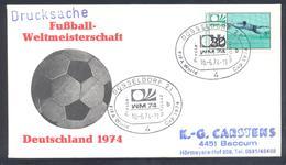 Germany 1974 Cover: Football Fussball Soccer Calcio: FIFA World Cup; Düsseldorf Press Cancellation - Fußball-Weltmeisterschaft
