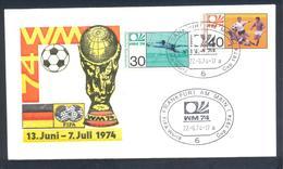 Germany 1974 Cover: Football Fussball Soccer Calcio: FIFA World Cup; Frankfurt Cancellation; Green Cachet - Fußball-Weltmeisterschaft